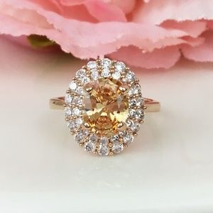 Jewelry - 2ct Oval Citrine & CZ Rose Gold Ring
